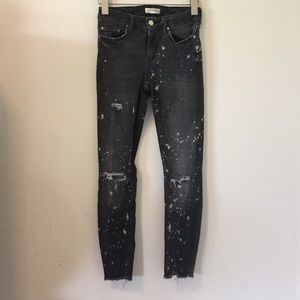 Zara paint effect factory distressed skinny jeans